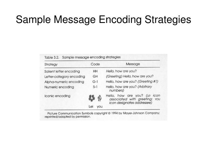 Sample Message Encoding Strategies
