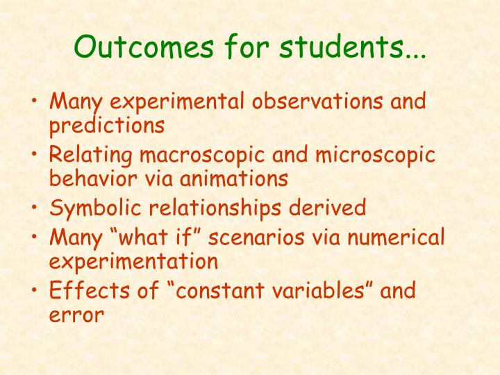 Outcomes for students...