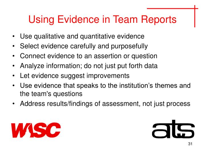 Using Evidence in Team Reports