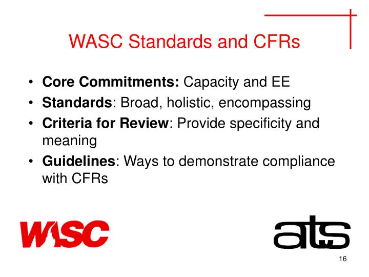 WASC Standards and CFRs