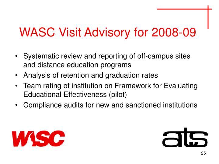 WASC Visit Advisory for 2008-09