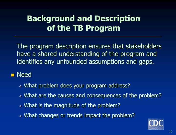The program description ensures that stakeholders have a shared understanding of the program and identifies any unfounded assumptions and gaps.