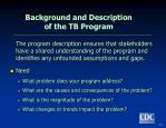background and description of the tb program