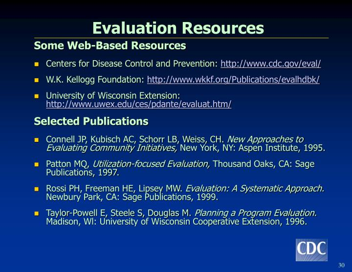 Evaluation Resources