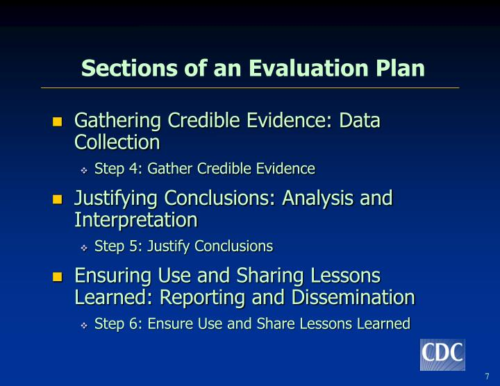 Sections of an Evaluation Plan