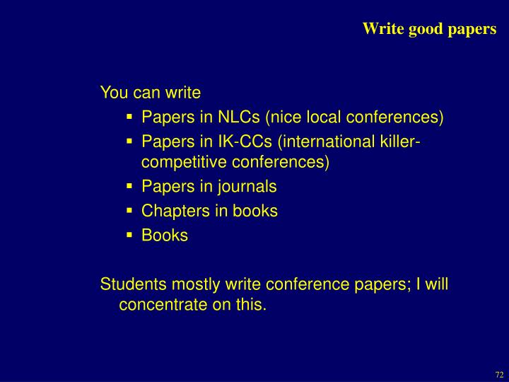 Write good papers