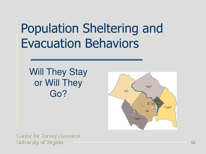 Population Sheltering and Evacuation Behaviors