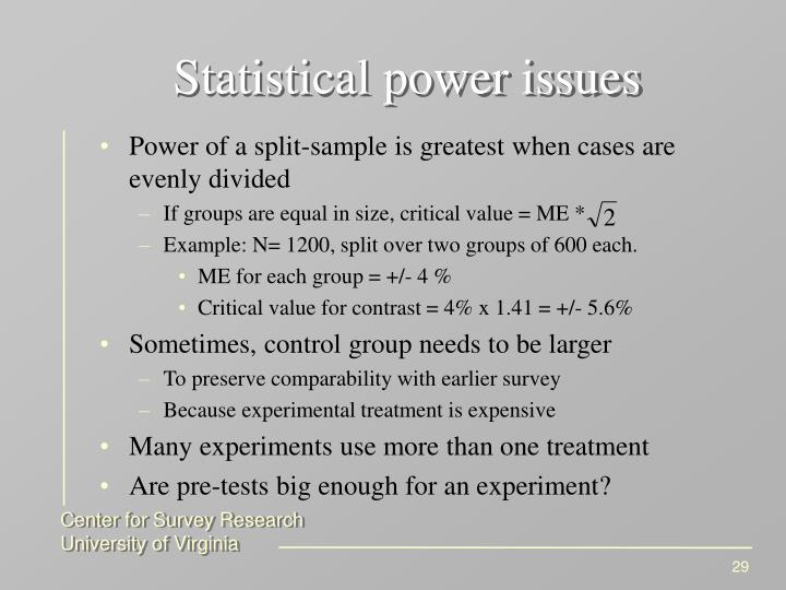 Statistical power issues