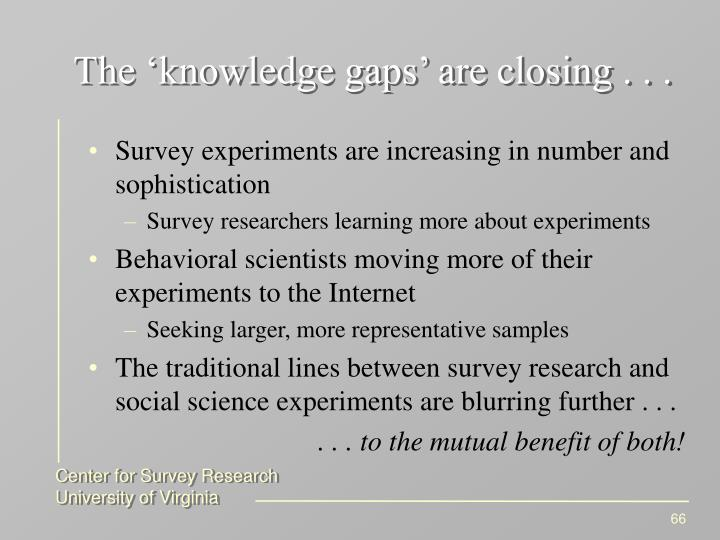 The 'knowledge gaps' are closing . . .