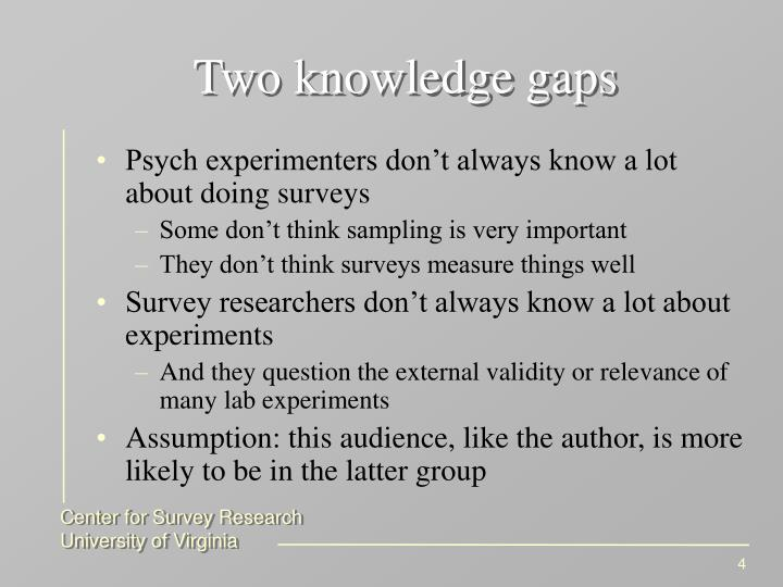 Two knowledge gaps
