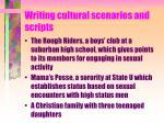 writing cultural scenarios and scripts
