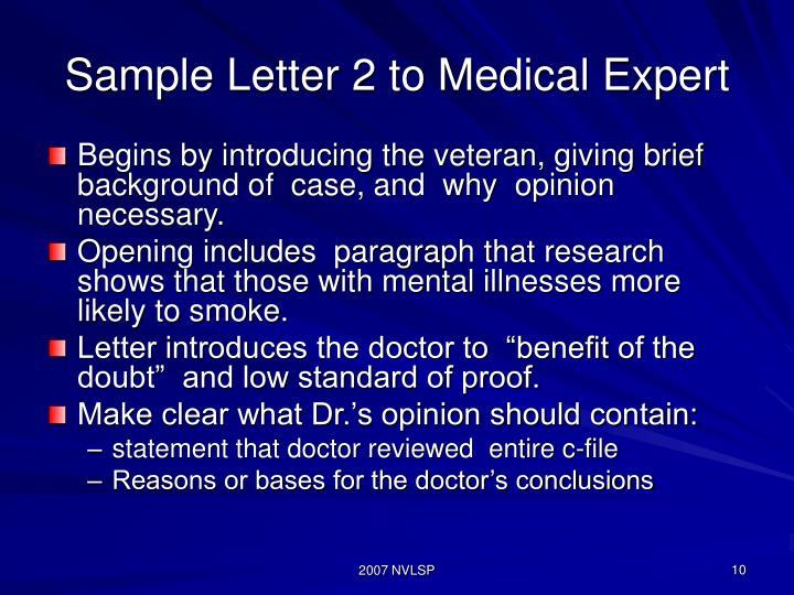 Sample Letter 2 to Medical Expert