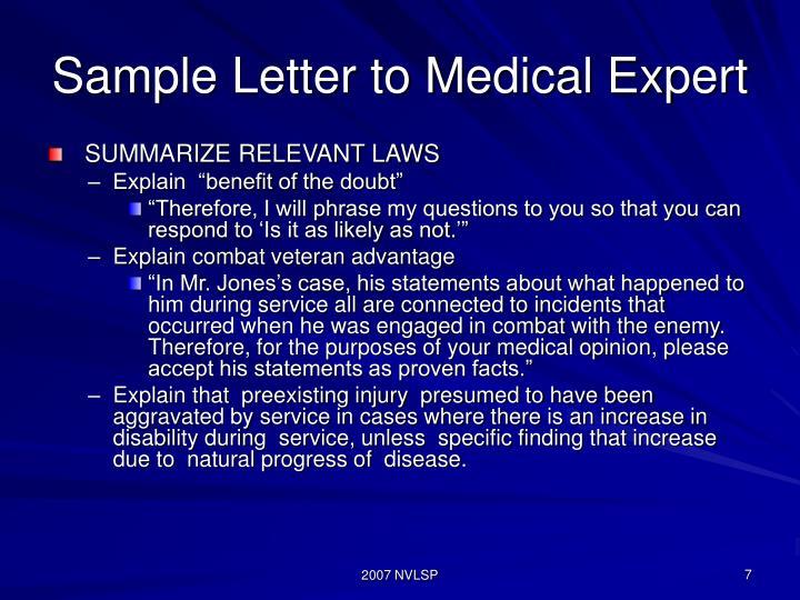 Sample Letter to Medical Expert