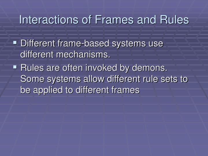 Interactions of Frames and Rules