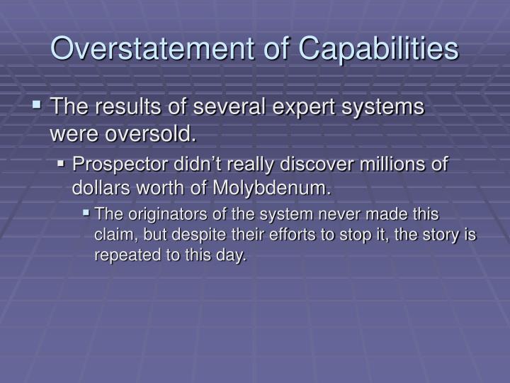 Overstatement of Capabilities