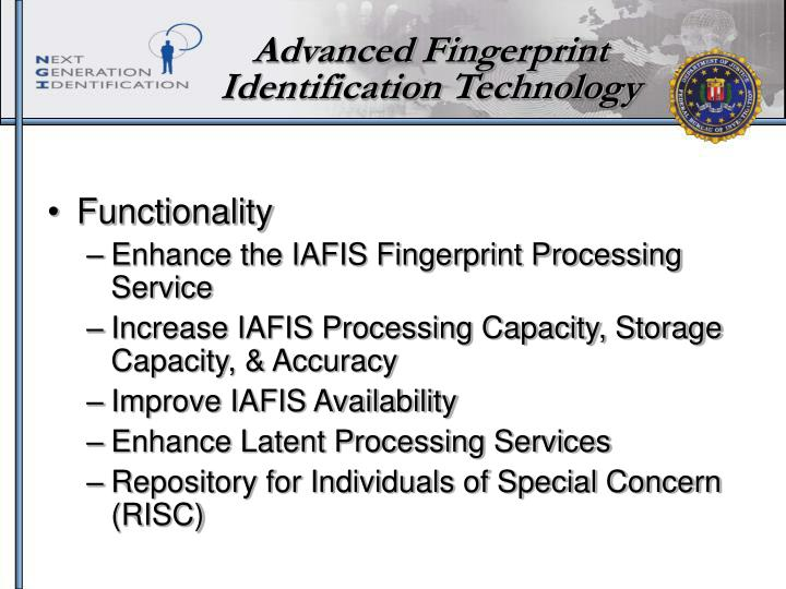 Advanced Fingerprint Identification Technology