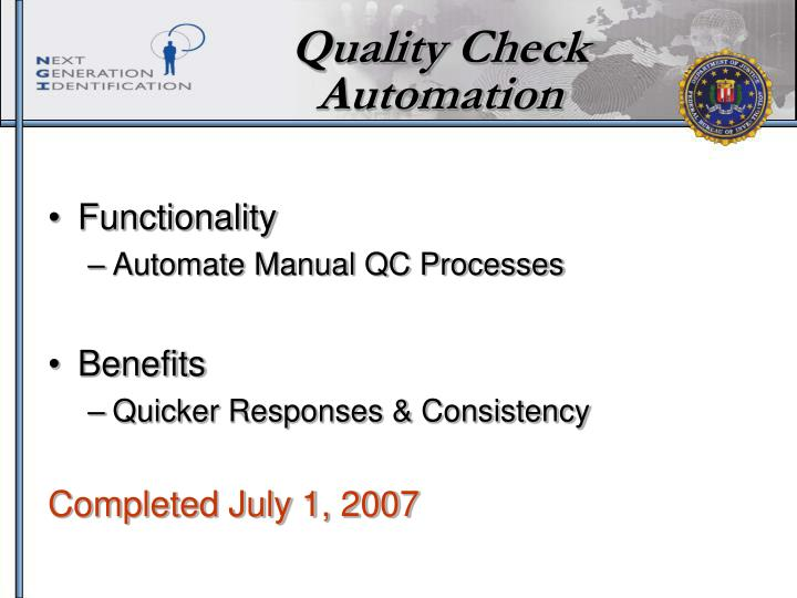 Quality Check Automation