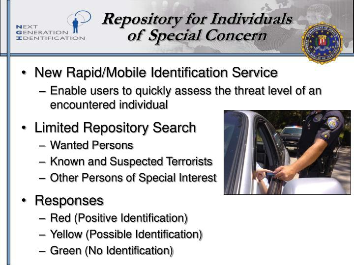 Repository for Individuals of Special Concern