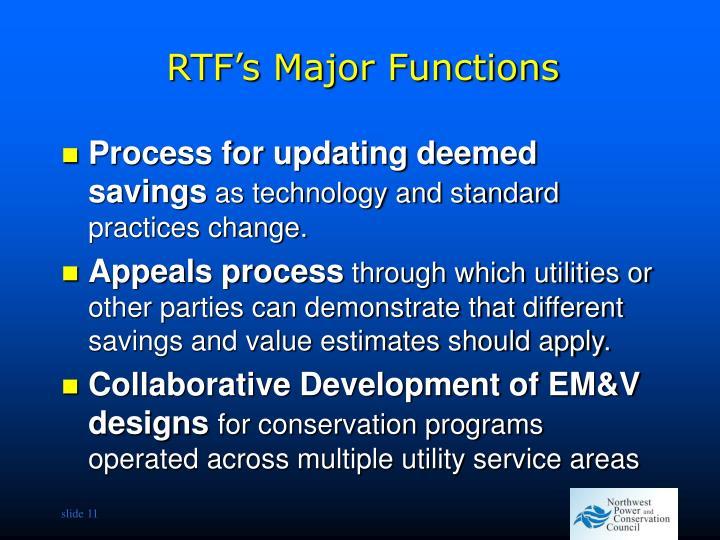 RTF's Major Functions