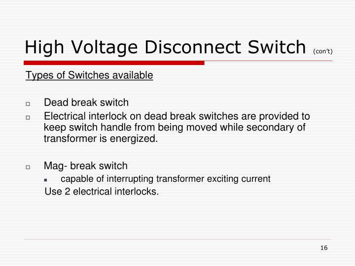 High Voltage Disconnect Switch