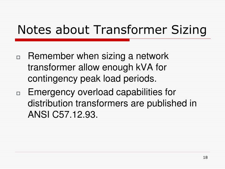 Notes about Transformer Sizing