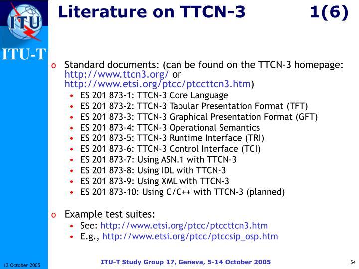 Literature on TTCN-31(6)