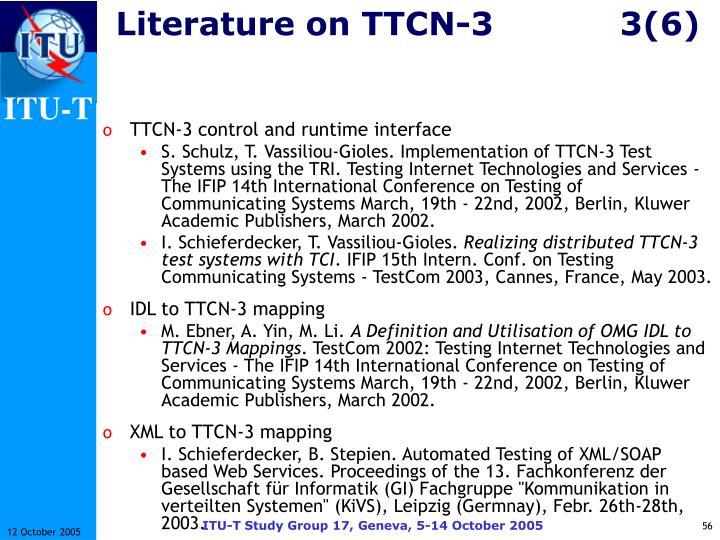 Literature on TTCN-33(6)