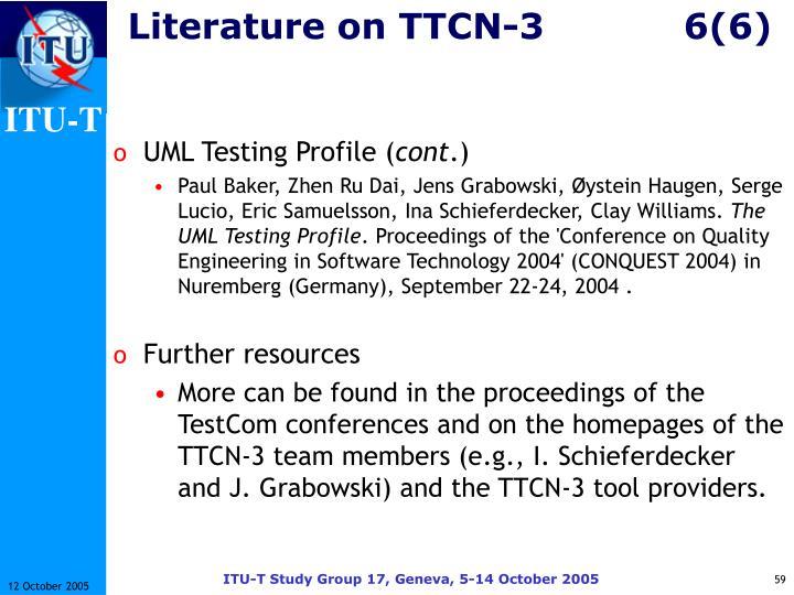Literature on TTCN-36(6)