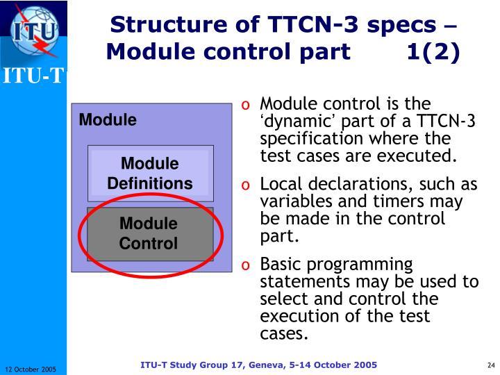 Structure of TTCN-3 specs