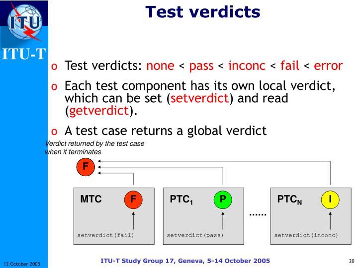 Test verdicts