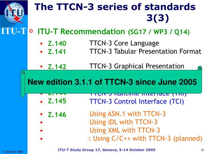 The TTCN-3 series of standards3(3)