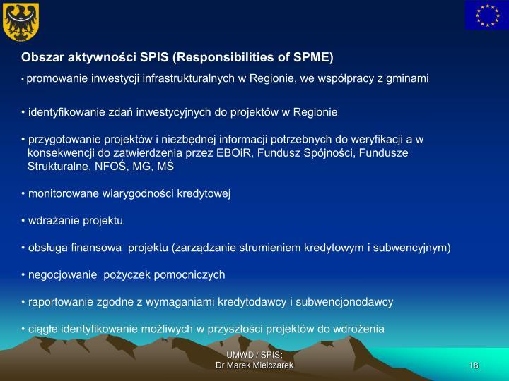 Obszar aktywności SPIS (Responsibilities of SPME)