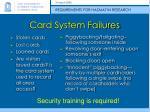 card system failures
