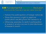 ear fundamental research exclusion is destroyed if the university accepts any contract clause that