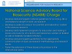 national science advisory board for biosecurity nsabb charge