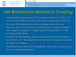 nih bioterrorism research funding