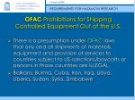 ofac prohibitions for shipping controlled equipment out of the u s