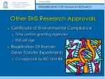 other ehs research approvals