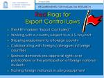red flags for export control laws