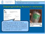 shipping mailing research materials