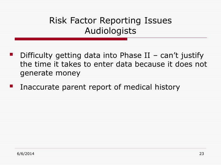 Risk Factor Reporting Issues