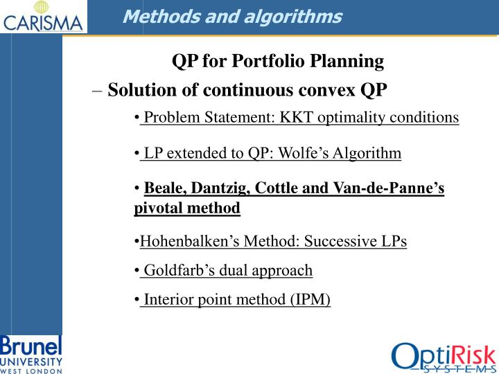 Methods and algorithms