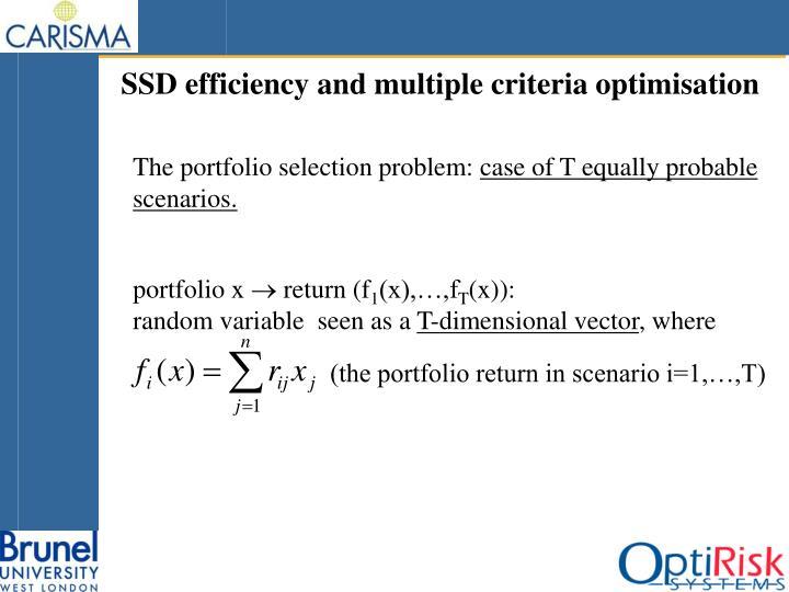 SSD efficiency and multiple criteria optimisation