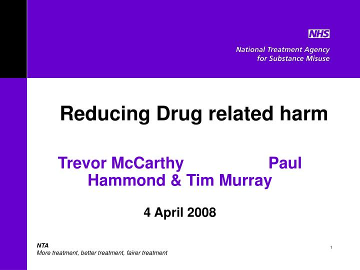 reducing drug related harm