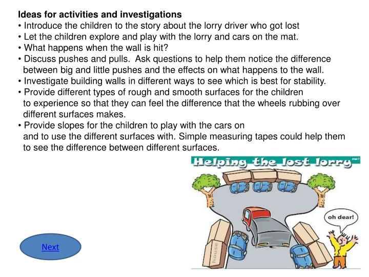 Ideas for activities and investigations