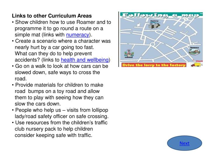 Links to other Curriculum Areas