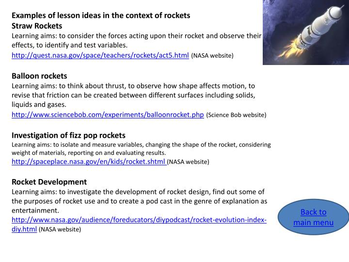 Examples of lesson ideas in the context of rockets