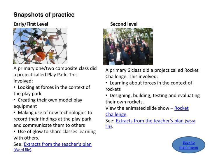 Snapshots of practice