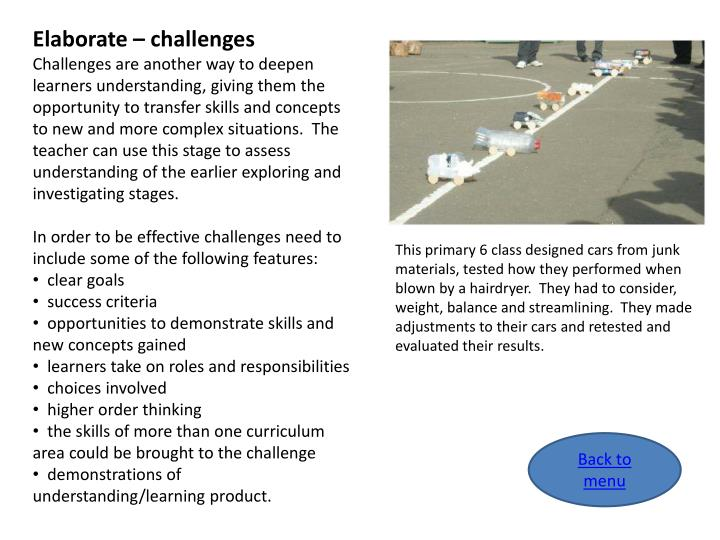 Elaborate – challenges