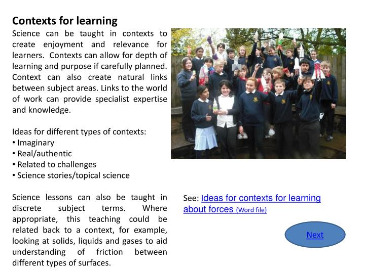 Contexts for learning